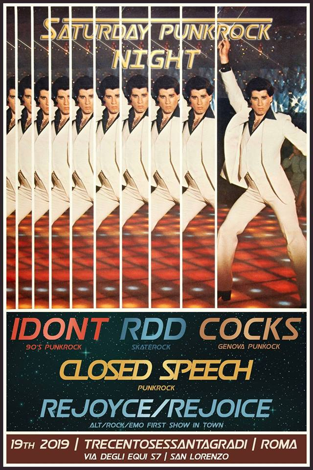 Saturday Punk Rock Night (Cocks+Closed Speech+IDONT+guests)