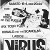 16 Aprile 1988 Virus Piazza Bonomelli Voice Of The Puglia - Ifix Tcen Tcen - Ronald & The Scarolas - Laidos (Grafica Lola)